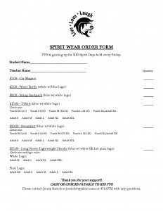 Spirit Wear Order Form
